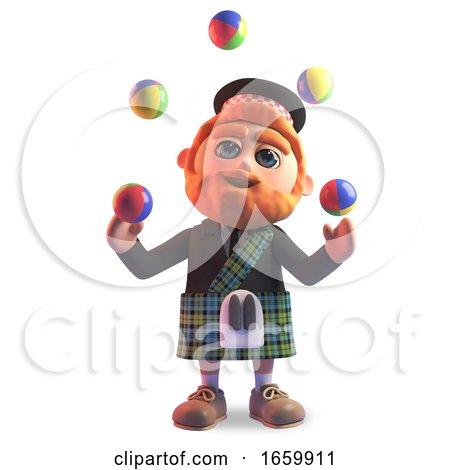 Cartoon 3d Scottish Man with Red Beard and Tartan Kilt Juggling Balls by Steve Young