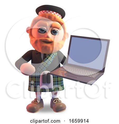Cool 3d Scottish Man with Red Beard and Tartan Kilt Holding a Laptop Computer Device by Steve Young