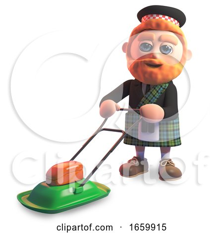 Funny Cartoon 3d Scottish with Red Beard and Tartan Kilt Mowing the Lawn with His Lawnmower by Steve Young
