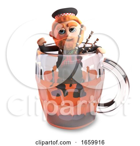 3d Cartoon Funny Scottish Man with Red Beard and Tartan Kilt Climbs out of a Pint of Beer with His Bagpipes by Steve Young