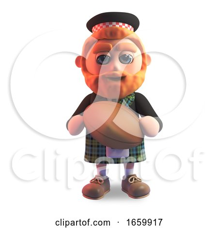 Scottish Man in Traditional Kilt Holding a Leather Rugby Ball by Steve Young