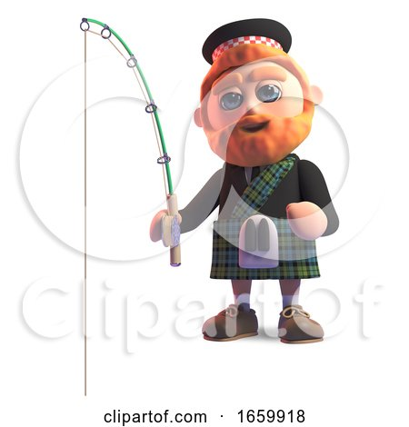 Relaxed Scottish Man in Traditional Kilt Fishing by Steve Young