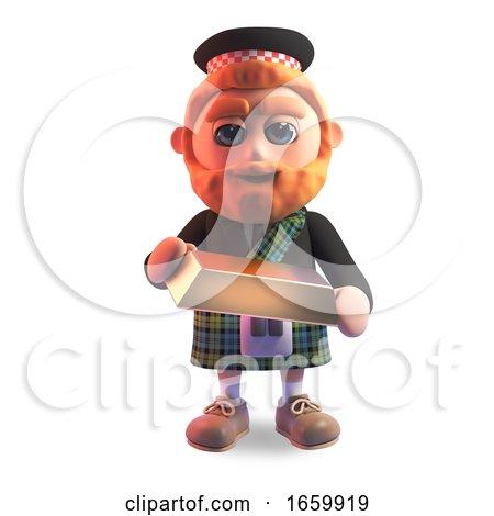 Lucky 3d Scottish Man in Kilt Holding a Gold Bullion Ingot Bar by Steve Young