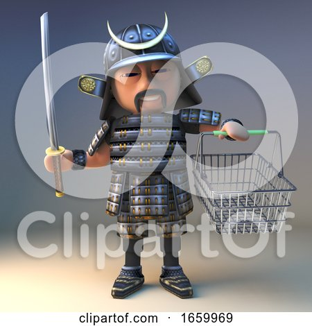 Noble Japanese Samurai Warrior with Katana Sword Goes Shopping with His Basket by Steve Young