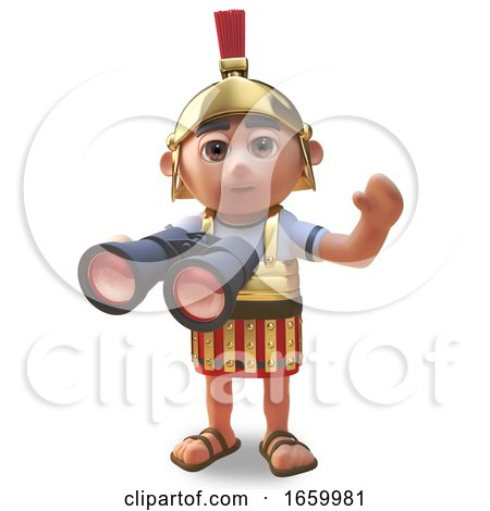 Friendly 3d Cartoon Roman Legionnaire Soldier Waves While Using His Binoculars by Steve Young