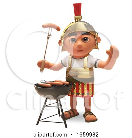 Hungry 3d Cartoon Roman Legionnaire Solder Cooking on a Barbecue Bbq by Steve Young