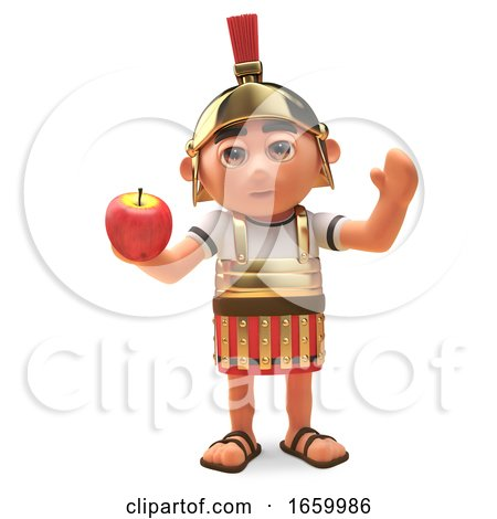Cartoon Roman Centurion Soldier Enjoys Eating a Healthy Apple by Steve Young