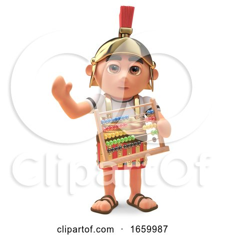 Maths Minded Roman Centurion Soldier Holding an Abacus by Steve Young