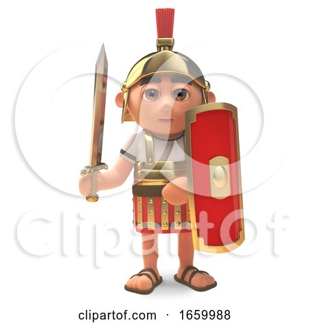 Serious 3d Roman Legionnaire Centurion Soldier with Sword Drawn by Steve Young