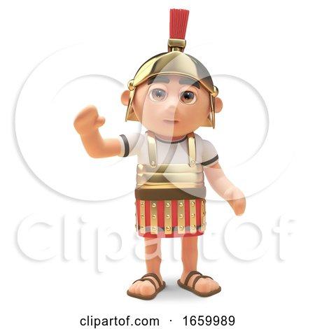 Friendly 3d Cartoon Roman Legionnaire Centurion Soldier Waves a Cheerful Hello by Steve Young