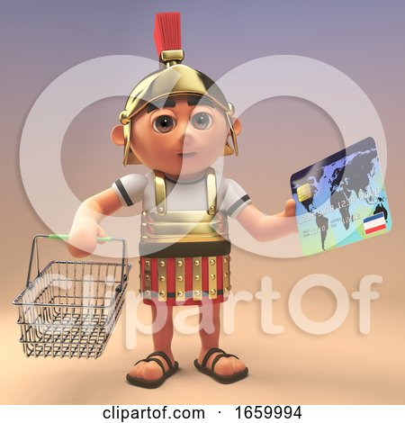 3d Roman Legionnaire Soldier in Armour Holding a Shopping Basket and Credit Card by Steve Young