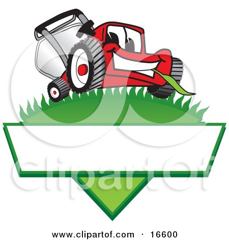 Clipart Picture of a Red Lawn Mower Mascot Cartoon Character on a Grassy Hill on a Blank Label by Toons4Biz