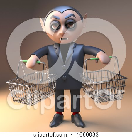 Vampire Dracula Monster in 3d Holding Two Shopping Baskets by Steve Young