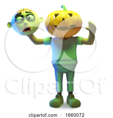 3d Cartoon Halloween Zombie Monster Has a Carved Pumpkin for a Head by Steve Young