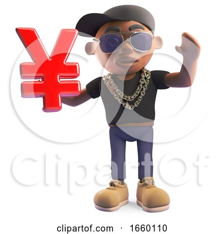 Wealthy Black Hiphop Rapper in a Baseball Cap Holding a Japanese or Chinese Yen Yuan Currency Symbol by Steve Young