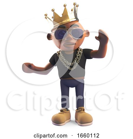 Champion Black Hiphop Rapper in a Royal Gold Crown by Steve Young