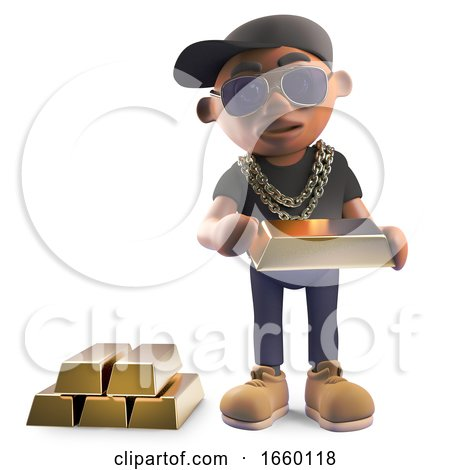 Wealthy Black Hiphop Rapper in Baseball Cap Counting His Gold Bars of Bullion by Steve Young