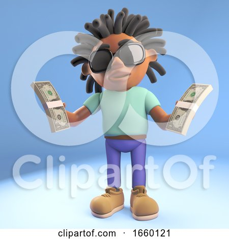 Black Afro Caribbean Man with Dreadlocks Holding Wads of Cash US Dollars by Steve Young