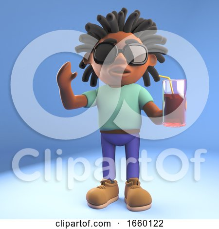 Relaxed Afro Caribbean Man with Dreadlocks Drinking a Soft Drink by Steve Young