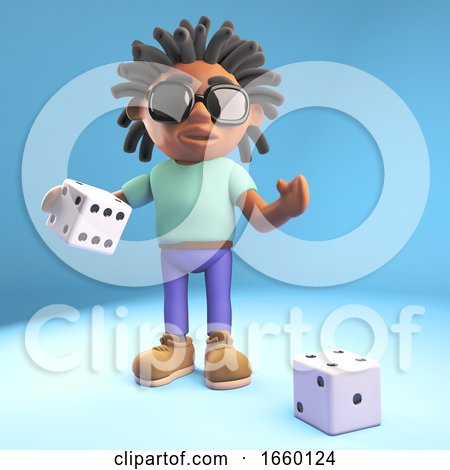 Cool Black Man with Dreadlocks Prepares to Throw the Dice by Steve Young