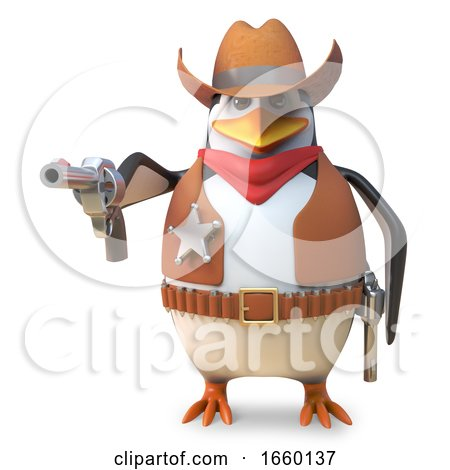 Sharpshooter Sheriff Penguin the Cartoon Cowboy Aims His Gun with Deadly Accuracy by Steve Young