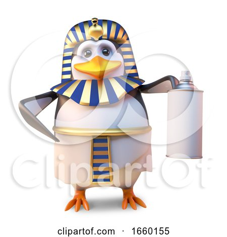 Noble Penguin Pharaoh Tutankhamun Using an Aerosol Spraypaint Can by Steve Young