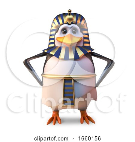 Ancient Penguin Pharaoh Tutankhamun Stands Regally with Hands on Hips by Steve Young