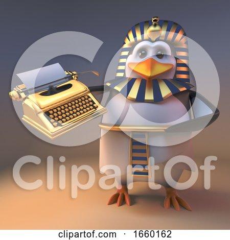 Graceful Penguin Pharaoh Tutankhamun Holding a Golden Typewriter Posters, Art Prints