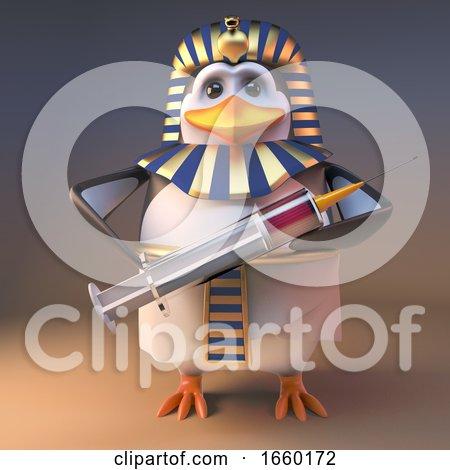 Cartoon 3d Penguin Pharaoh Tutankhamun Holding a Syringe Full of Medicine by Steve Young
