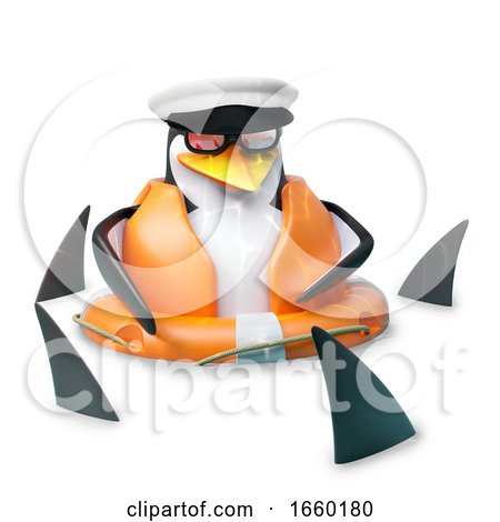 Poor Floating Sailor Penguin in Sailors Hat Is Floating Amidst a Shoal of Sharks by Steve Young
