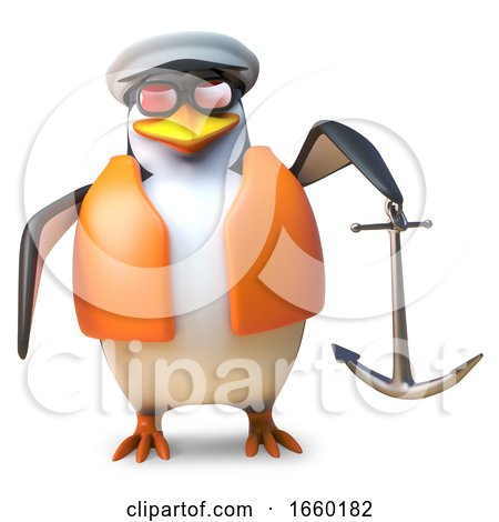 Nautical Sailor Penguin in Life Jacket and Sailors Cap Holding an Anchor by Steve Young