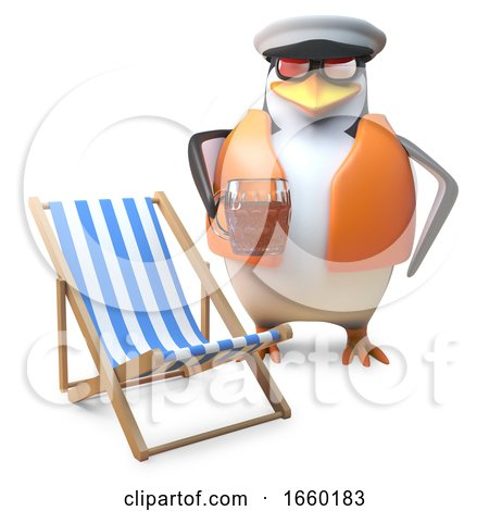 Nautical Penguin Sailor in Lifejacket and Sailors Cap Drinks a Pint of Beer near Deckchair by Steve Young