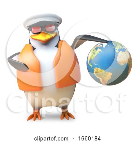 Nautical Yachtsman Penguin in Sailor Hat and Lifejacket Holds a Globe of the Earth by Steve Young