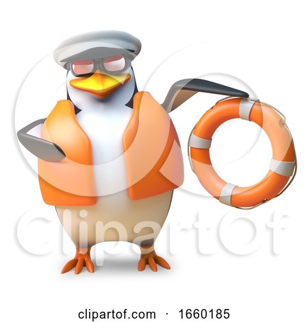 Nautical Sailing Penguin in Lifejacket and Captain Hat Holds a Life Ring by Steve Young