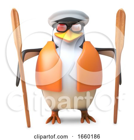 Cheeky Sailor Penguin in Captains Hat and Lifejacket Holding Two Oars by Steve Young