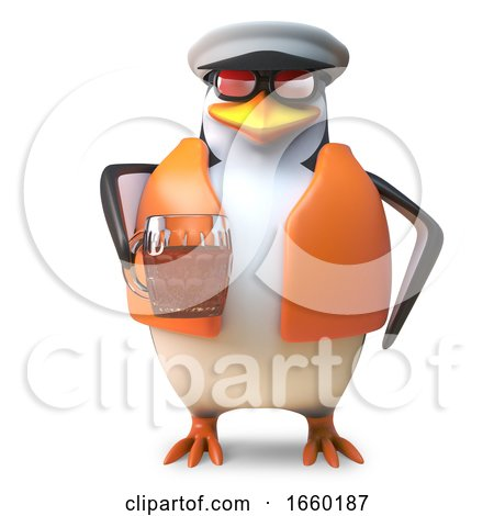 Thirsty Captain Penguin Sailor in Nautical Outfit Drinking a Pint of Beer by Steve Young