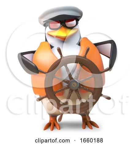 Skilled Sailor Penguin in Nautical Outfit Steers His Ship with Ease by Steve Young
