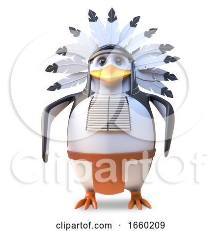 Noble Native American Indian Chief Penguin Stands Resolute by Steve Young