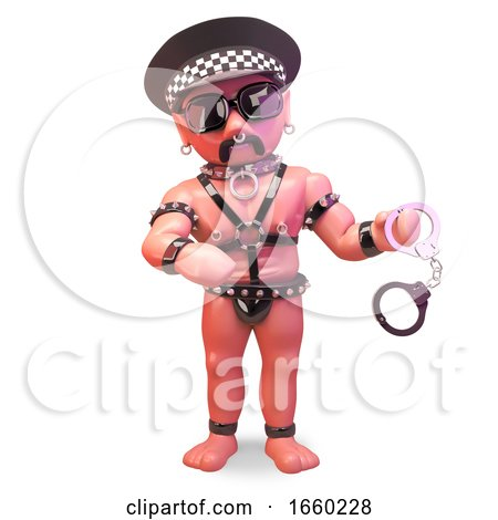 Bald Gay Leather Fetish Man Wearing a Police Helmet and Holding a Pair of Handcuffs by Steve Young