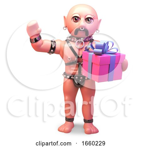 Gay Bald Man in Leather Fetish Outfit Holding a Giftwrapped Outfit by Steve Young