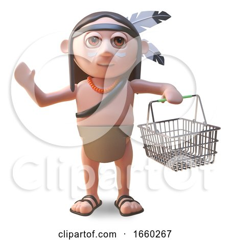 Native American Indian Man Carrying a Shopping Basket by Steve Young