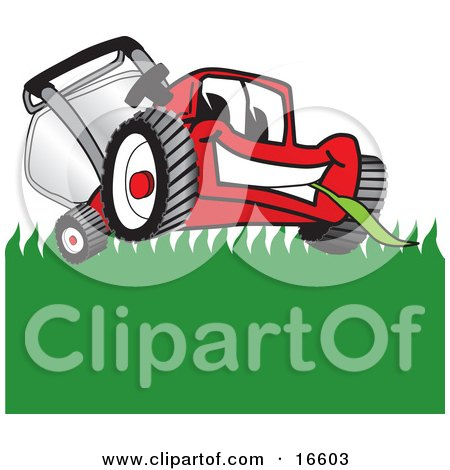 Clipart Picture of a Red Lawn Mower Mascot Cartoon Character Smiling While Mowing Grass by Toons4Biz