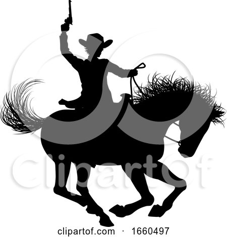 Cowboy Riding Horse Silhouette by AtStockIllustration
