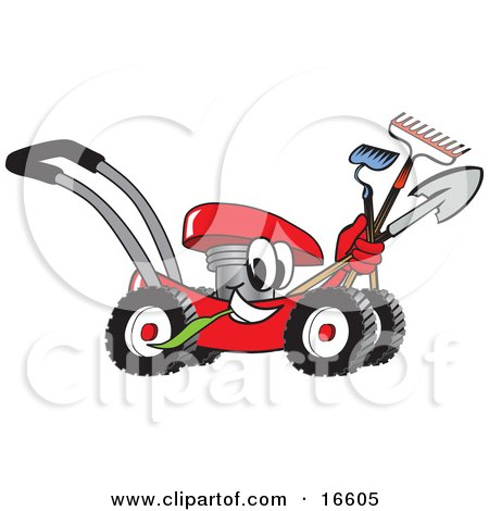 Clipart Picture of a Red Lawn Mower Mascot Cartoon Character Passing by With a Hoe, Rake and Shovel  by Toons4Biz