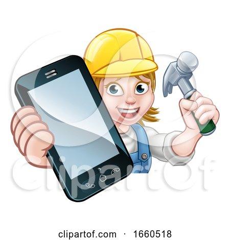 Carpenter Handyman Phone Concept by AtStockIllustration
