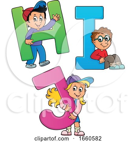 School Children with the Letters H I and J by visekart