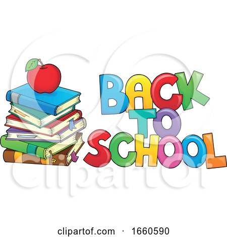 Back to School Design with Books and an Apple Posters, Art Prints