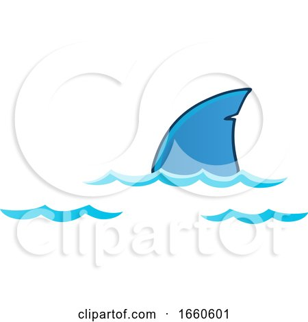 Cartoon Shark Dorsal Fin Above Water by visekart