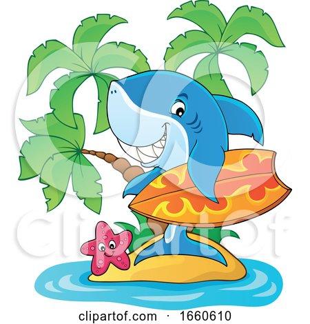 Cartoon Surfer Shark on an Island by visekart