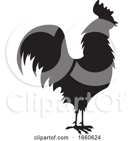 Silhouetted Rooster Posters, Art Prints